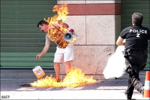 Apostolos Polyzonis 55 businessman set himself on fire outside his bank last year after falling into financial woes